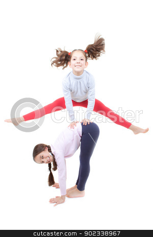 active children playing stock photo, active children playing leapfrog and jumping by mandygodbehear