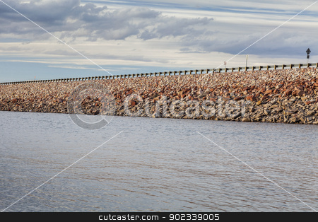 reservoir rock dam stock photo, rock dam with highway - Horsetooth Reservoir near Fort Collins, Colorado by Marek Uliasz