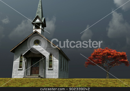 Little Church on the Prarie stock photo, Scene of an old church on a wind swept prarie. by Anthony Ross