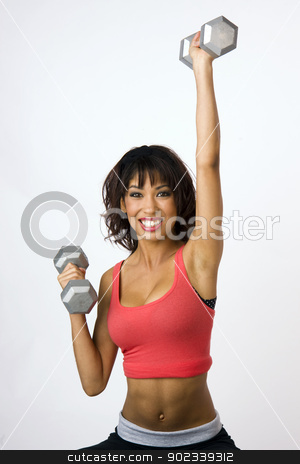 Physical Fitness Woman Lifts Barbells stock photo, Pretty Weight Trainer by Christopher Boswell