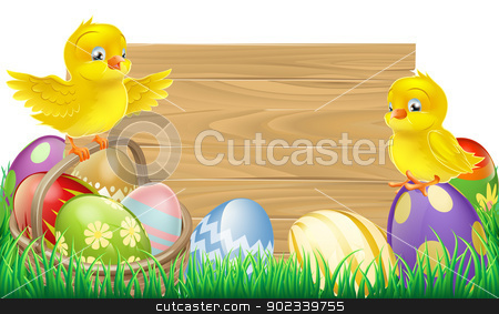 Blank Easter Sign stock vector clipart, A blank wooden Easter sign with copyspace in the centre for your text by Christos Georghiou