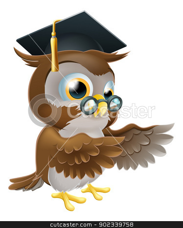 Teacher owl pointing stock vector clipart, A cute cartoon wise owl wearing a mortar board professor or teacher's hat and glasses and pointing both wings by Christos Georghiou
