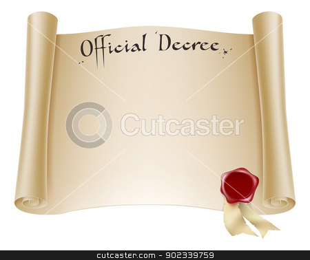 Paper official certificate stock vector clipart, A background design element of an antique historical paper certificate scroll document or decree with red wax seal. by Christos Georghiou