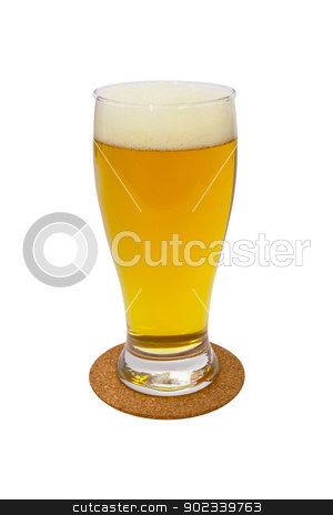 glass of light beer isolated on a white background stock photo, glass of light beer isolated on a white background by vician