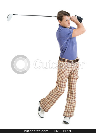 Male golfer swinging his club stock photo, Photo of a male golfer in his late twenties finishing his swing with a driver.  by © Ron Sumners