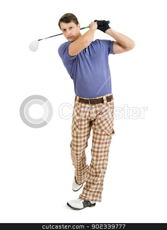 Swinging a golf club stock photo, Photo of a male golfer in his late twenties finishing his swing with a driver.  by © Ron Sumners
