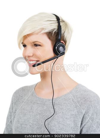 Customer service stock photo, Photo of a cute young call center female with short blond hair and big smile wearing a headset. by &copy; Ron Sumners