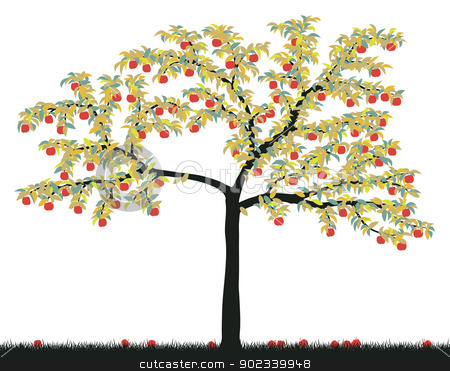 Apple tree stock vector clipart, Editable vector illustration of a colorful apple tree by Robert Adrian Hillman