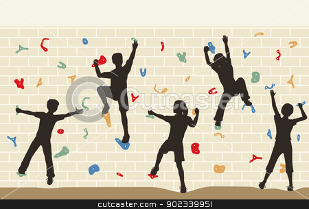 Kids climbing wall stock vector clipart, Editable vector illustration of children silhouettes on a climbing wall by Robert Adrian Hillman