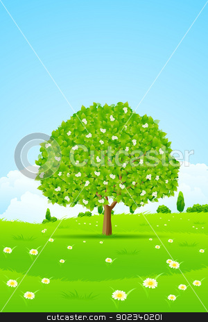 Tree Background stock vector clipart, Lonely Tree with Flowers, Grass and Clouds by Vadym Nechyporenko