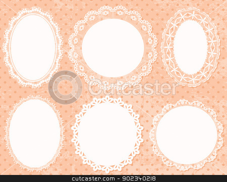 Lace Frames stock vector clipart, Lace handmade frames on polka dot background. by wingedcats