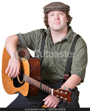 Calm Guitarist stock photo, Calm musician holding his guitar over white background by Scott Griessel