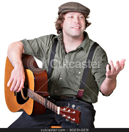 Guitarist with Arm Extended stock photo, Cheerful guitar player with arm extended on isolated background by Scott Griessel
