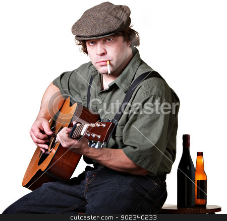 Serious Guitarist with Alcohol stock photo, Guitar player with cigarette and bottles of beer by Scott Griessel