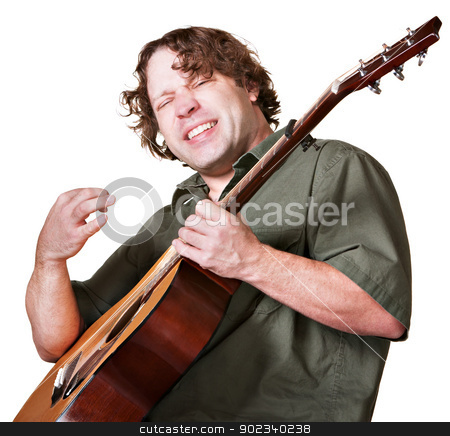 Excited Guitar Player stock photo, Excited guitar player strumming his instrument on white background by Scott Griessel