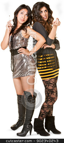 Club Girls Smoking stock photo, Club girls in mini skirts holding cigarettes by Scott Griessel