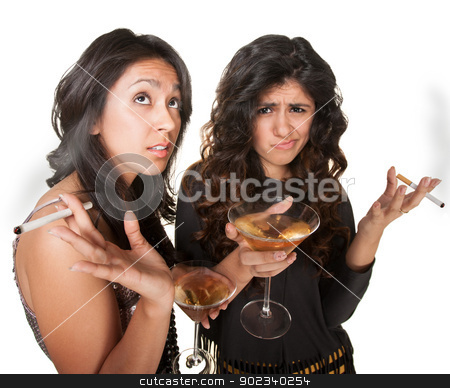 Two Club Girls stock photo, Young annoyed club girls in fashionable clothes with drinks by Scott Griessel