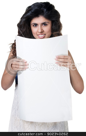Smiling Woman with Poster stock photo, Smiling Native American woman with blank poster on white background by Scott Griessel