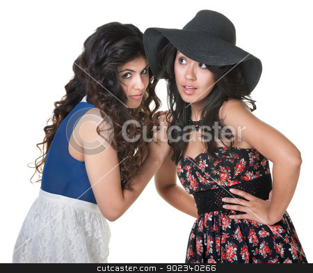 Two Latino Women Gossiping stock photo, Pair of Native American young women whispering to each other by Scott Griessel