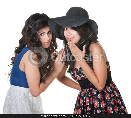 Two Sisters Standing Close stock photo, Pair of cute young women standing close together by Scott Griessel