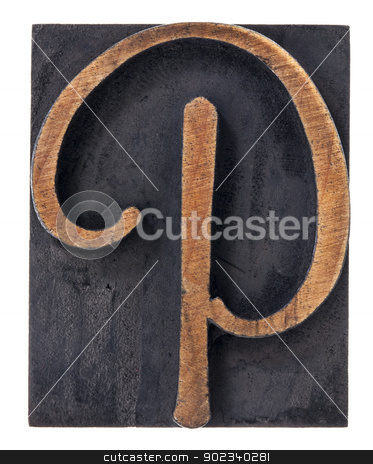 ornamental letter P  stock photo, ornamental letter P - script font - isolated letterpress wood type printing block by Marek Uliasz