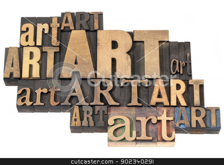 art word abstract in wood type stock photo, art word abstract - isolated text in a variety of vintage letterpress wood type printing blocks by Marek Uliasz