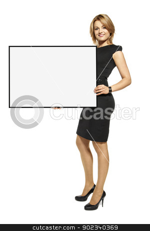Attractive Woman Holding Up a  Poster - Isolated stock photo, Attractive young woman holding up a poster. Isolated on white background. by Filip Warulik