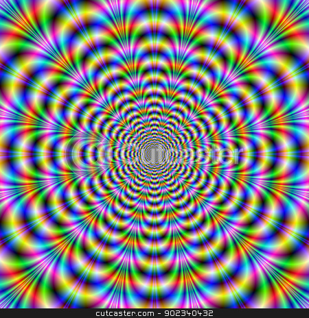 Rippling Rings stock photo, Digital abstract image with a geometric fractal design in blue, green, red and yellow. by Colin Forrest