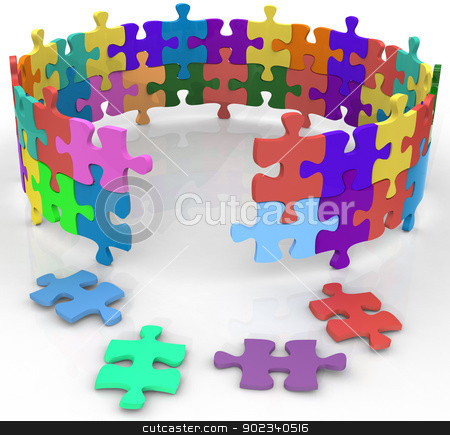 Enter circle inside mystery puzzle solution stock photo, Solution entrance to mysterious inner circle of puzzle by Michael Brown
