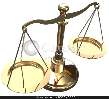 Scales weigh justice choice balance  stock photo, Scales as symbol of law justice court fairness choice 3D render with clipping path by Michael Brown