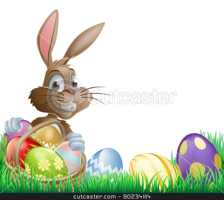 Isolated Easter footer design stock vector clipart, Isolated Easter footer design with a bunny rabbit and decorated Easter eggs in a basket by Christos Georghiou