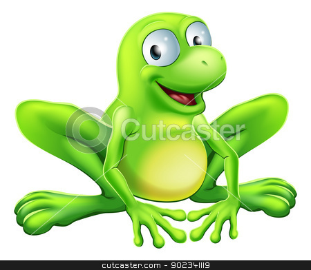 Frog mascot stock vector clipart, A drawing of a green cute frog mascot character sitting and smiling by Christos Georghiou
