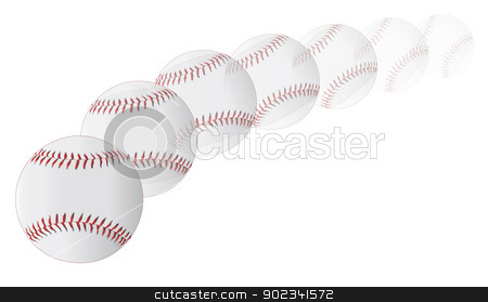 Flying Baseball stock vector clipart, A new white pitched baseball with red stitching on a faded white background. by Kotto