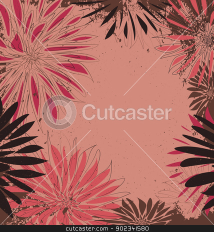 floral background stock vector clipart, flowers on a grunge background with place for text by Miroslava Hlavacova