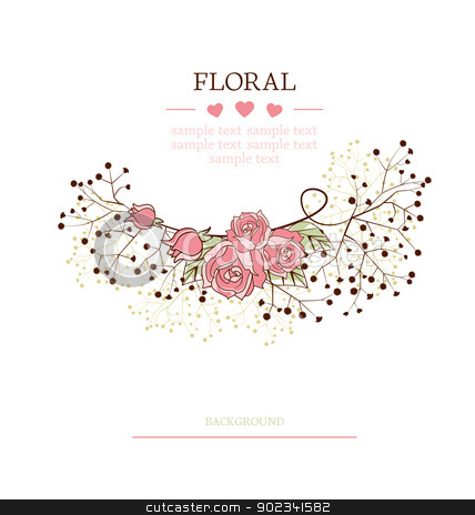floral background stock vector clipart, flowers on a white background with place for text by Miroslava Hlavacova