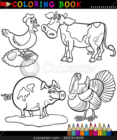 Cartoon Farm Animals for Coloring Book stock vector clipart, Black and White Coloring Book or Page Cartoon Illustration Set of Funny Farm and Livestock Animals for Children by Igor Zakowski