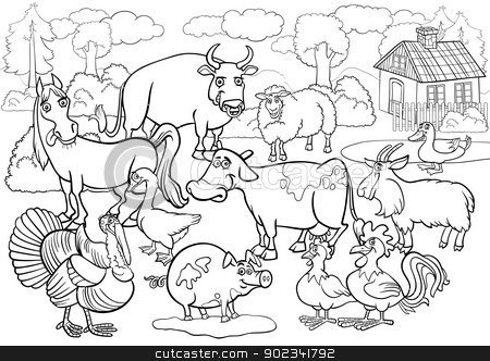 farm animals cartoon for coloring book stock vector clipart, Black and White Cartoon Illustration of Country Scene with Farm Animals Livestock Big Group for Coloring Book by Igor Zakowski