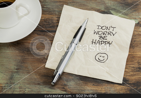 Don't worry be happy stock photo, Don't worry be happy - a cocktail napkin doodle with cup of coffee by Marek Uliasz