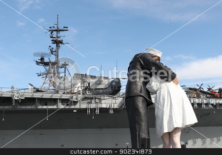 San Diego WWII Kiss Statue Ceremony stock photo, San Diego, CA - FEBRUARY 16 :  WWII 'Kiss' statue returns February 16, 2013 in San Diego, CA.  by Henrik Lehnerer