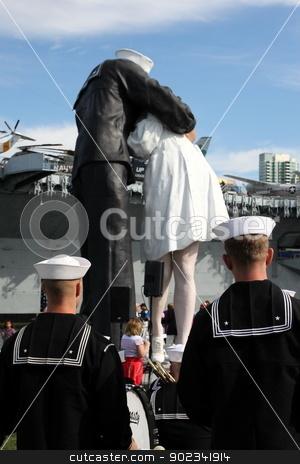 San Diego WWII Kiss Statue Ceremony stock photo, San Diego, CA - FEBRUARY 16 :  WWII 'Kiss' statue returns February 16, 2013 in San Diego, CA.  by Henrik Lehnerer