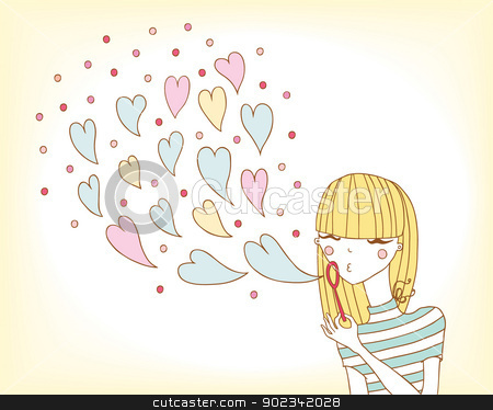 soap bubbles. stock vector clipart, young girl in love inflates soap bubbles. by Natalia Konstantinova