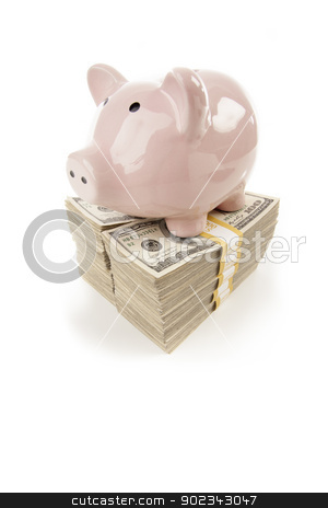 Pink Piggy Bank on Stacks of Money on White stock photo, Pink Piggy Bank Standing on Stacks of Hundreds of Dollars Isolated on a White Background. by Andy Dean