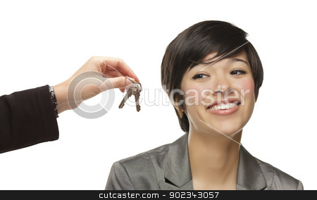 Mixed Race Young Woman Being Handed Keys on White stock photo, Mixed Race Young Woman Being Handed Keys Isolated on a White Background. by Andy Dean