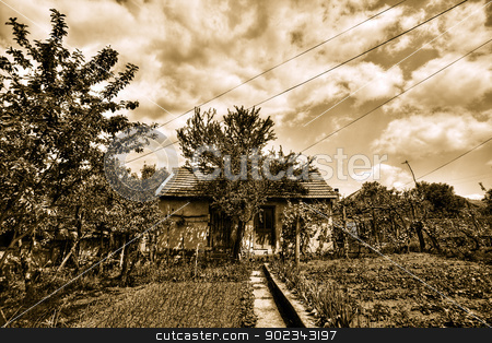 Old spooky - sepia house - HDR  stock photo, Old spooky house with storm clouds over it - HDR  by Mirko Pernjakovic