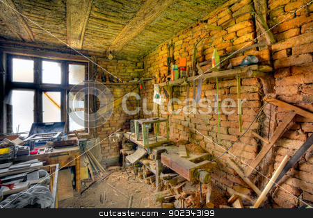 Old work house stock photo, Old work house made of bricks full of tools - HDR by Mirko Pernjakovic