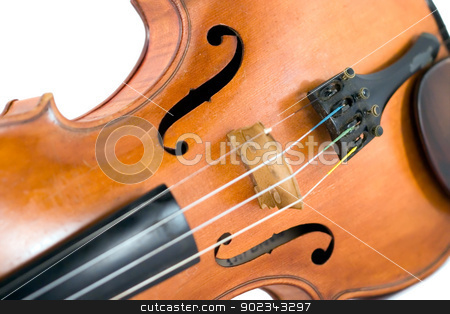 Violin stock photo, Just a violin against white background by Mirko Pernjakovic