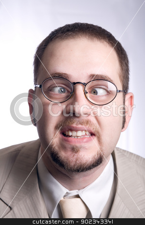 Funny businessman  stock photo, Funny businessman thinking that he's hot by Mirko Pernjakovic