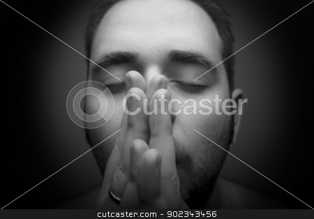 Man praying stock photo, Mans hands clasped in prayer - black an white by Mirko Pernjakovic