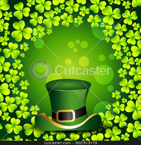 saint patrick's day design stock vector clipart, beautiful green shamrock leaf st patrick's day background by pinnacleanimates
