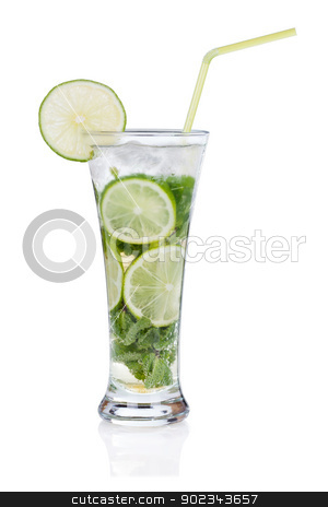 Mojito on white stock photo, Mojito cocktail isolated on white background by Alexander Tarasov